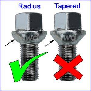 Dimensions of wheel bolts