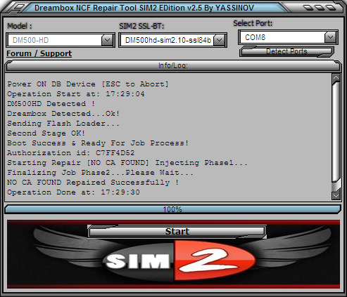 Dreambox NO CA FOUND Repair Tool NCF SIM2 v2.5